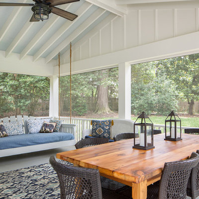 Inspiration for a coastal screened-in back porch remodel in Richmond with a roof extension