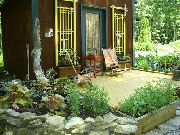 Rustic Porch by Robin Amorello, CKD CAPS - Atmoscaper Design