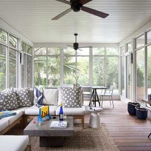 Design ideas for a classic screened veranda in Austin with decking and a roof extension.