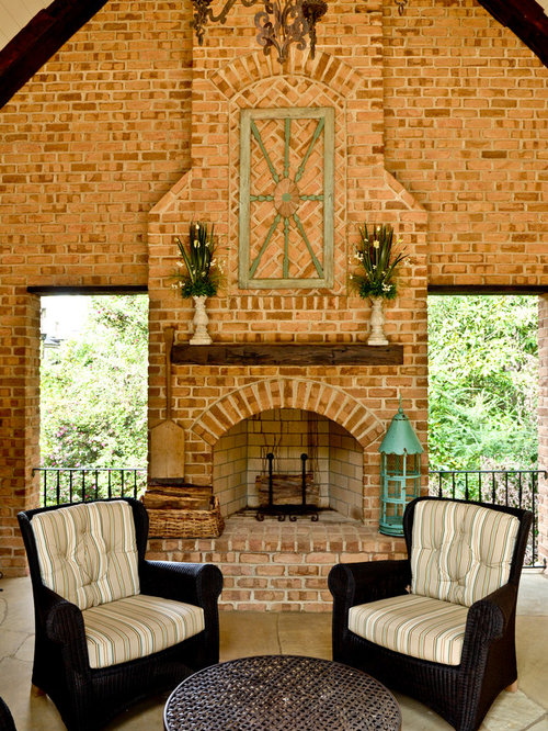 Brick fireplace mantel home design ideas pictures remodel and decor - How to decorate a traditional home style ...