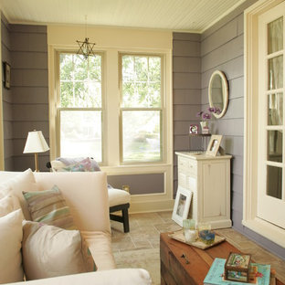 Inspiration for a timeless porch remodel in Columbus with a roof extension