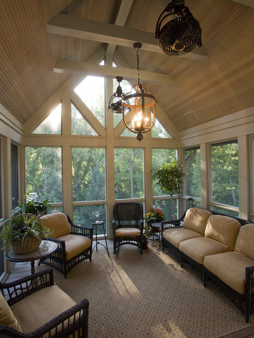 Vaulted Sunroom With Fireplace