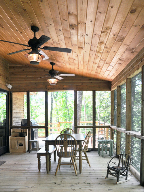 Mountain Style Screened In Porch Idea In Louisville With Decking