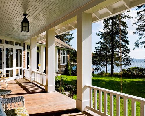 Country cottage porch railing home design ideas pictures for Waterfront deck ideas