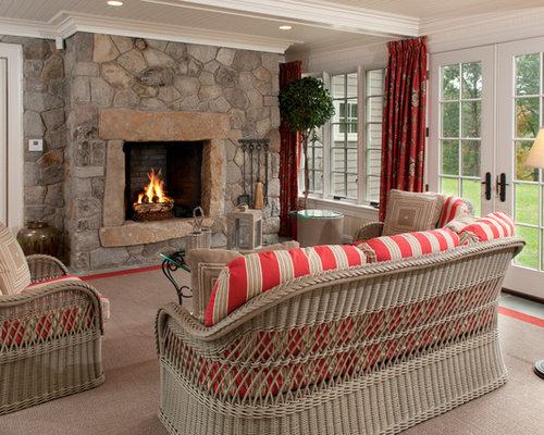 This Is An Example Of A Traditional Porch Design In Boston With A Fire  Feature And