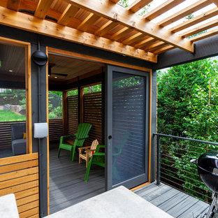 Esempio di un portico minimalista di medie dimensioni e dietro casa con un portico chiuso, pedane e un tetto a sbalzo