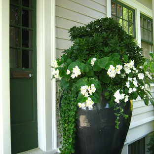 Inspiration for a small craftsman concrete porch remodel in Seattle with a roof extension