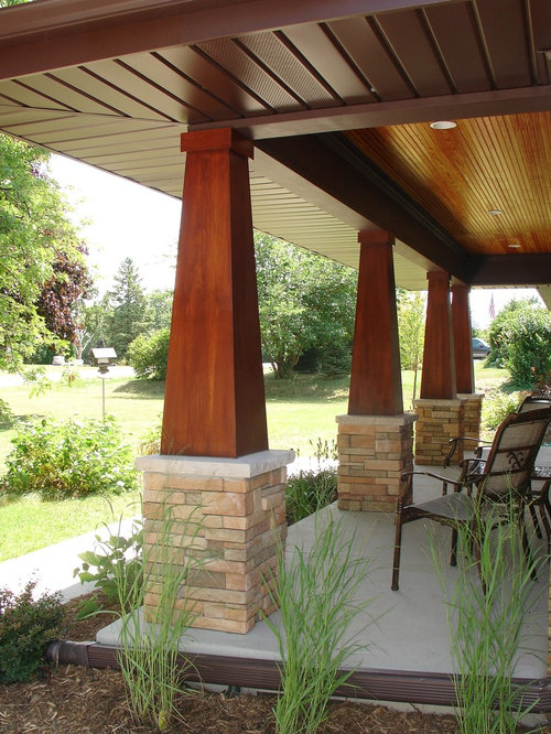 Stained columns houzz for Arts and crafts porch columns