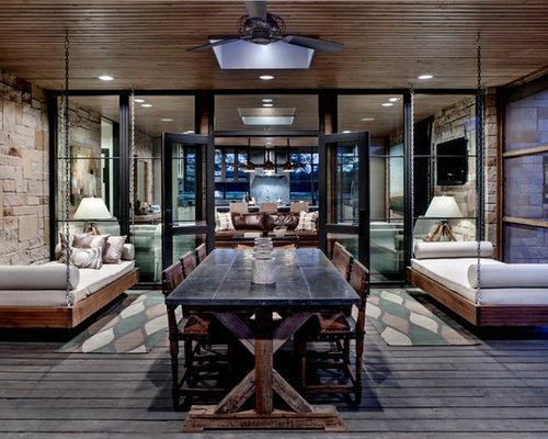 rustikaler wintergarten mit dunklem holzboden ideen design bilder houzz. Black Bedroom Furniture Sets. Home Design Ideas