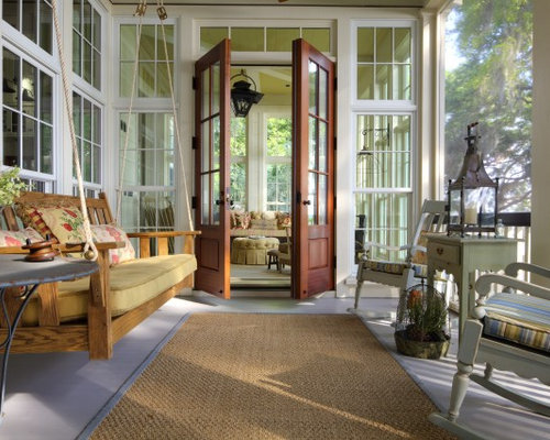 mid sized coastal screened in back porch idea in other with decking - Screened In Porch Design Ideas