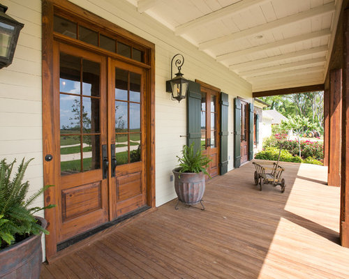 Long narrow porch home design ideas pictures remodel and for Rustic porch columns