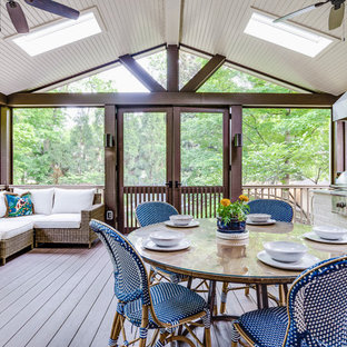 Large mountain style screened-in back porch photo in Nashville with a roof extension and decking