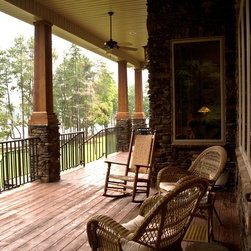 Rustic columns porch design ideas pictures remodel decor for Rustic porch columns