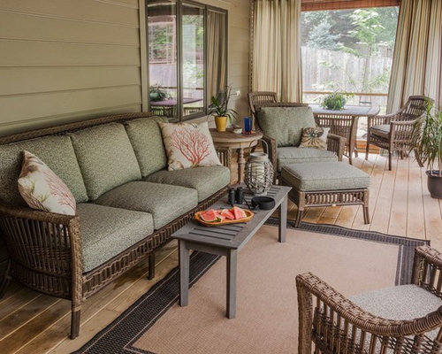 This Is An Example Of A Transitional Porch Design In DC Metro With Decking