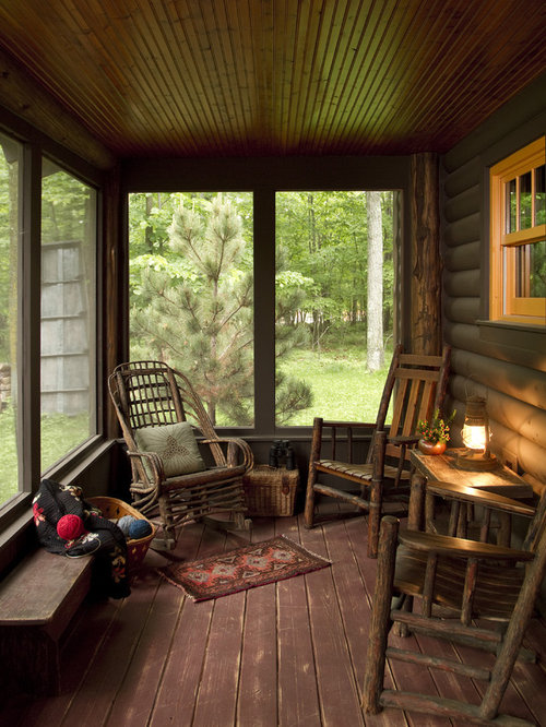 charming rustic screen porch #1: Inspiration for a rustic screened-in porch remodel in Minneapolis with  decking and a roof