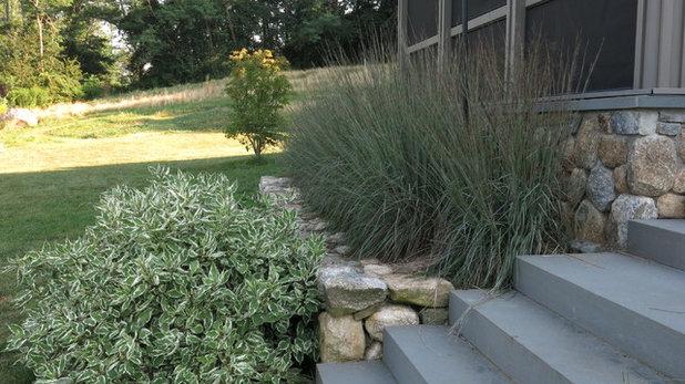 Transitional Porch by Rue Sherwood Landscape Design, LLC