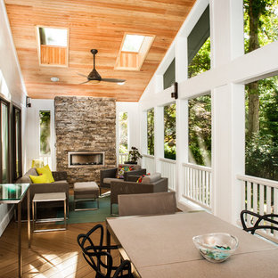 Screen Porch Addition-Interior Fireplace