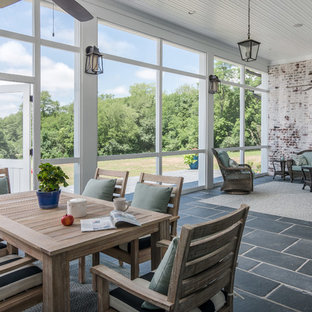 Country Stone Screened In Back Porch Idea In Nashville With A Roof Extension