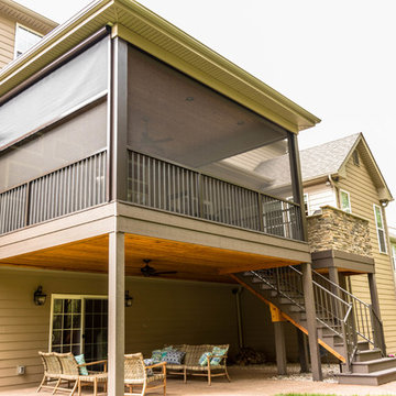 Screen Room Addition with Retractable Screens, Outdoor Kitchen, and Patio