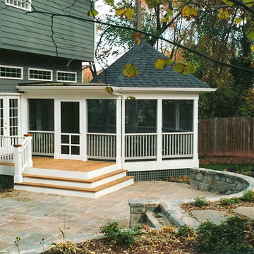 Screened Porch, Stairs and Stone Patio