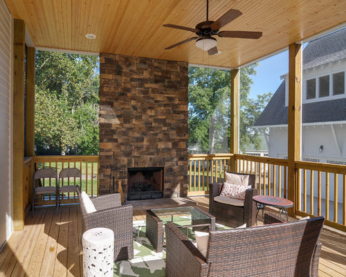 Screened Porch Fireplace | Houzz
