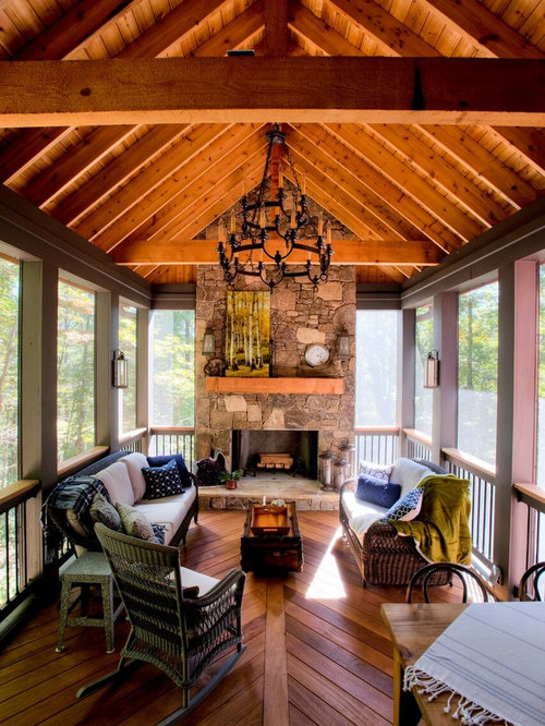Craftsman back porch design ideas remodels photos houzz for Craftsman screened porch