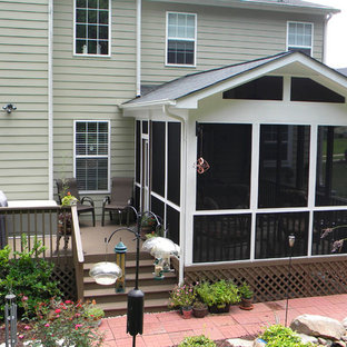 Small Screened In Back Porch Photo In Raleigh With Decking And A Roof  Extension