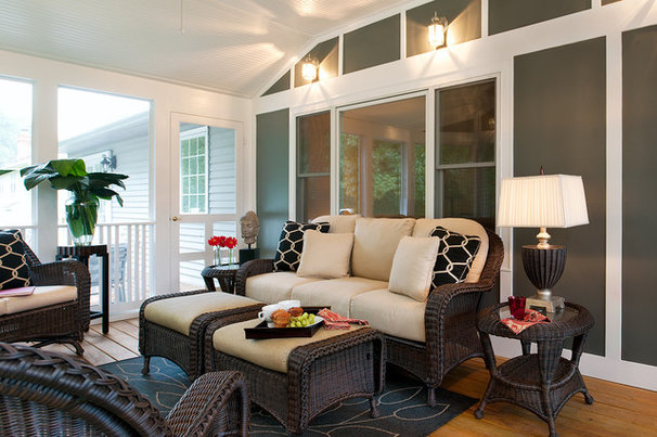 Eclectic Porch by DECORATING DEN INT. SHELLEY RODNER C.I.D.