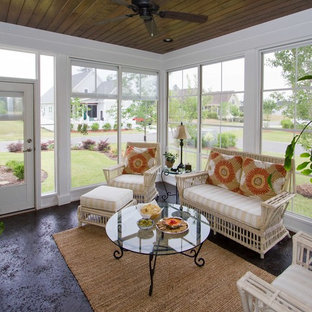Inspiration for a large timeless screened-in back porch remodel in Wilmington with a roof extension