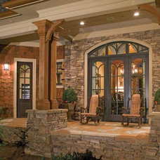 Contemporary Porch Side Porch breezeway of Contemporary Craftsman House Design - with Country Style