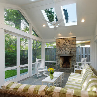 Design ideas for a classic screened veranda in DC Metro with a roof extension.