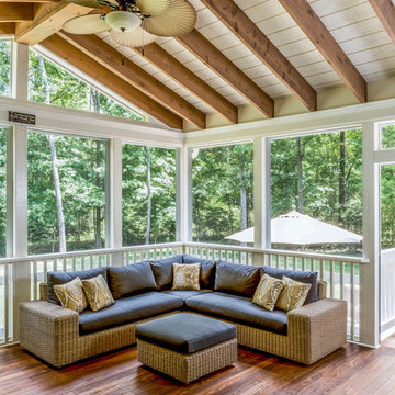 South Charlotte Screen Porch with Fireplace