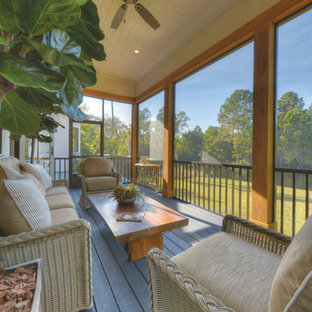 Inspiration for a coastal screened-in porch remodel in Jacksonville with decking and a roof extension