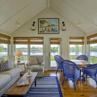 Coastal screened-in porch photo in Omaha