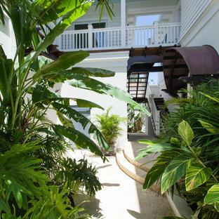 Ispirazione per un portico tropicale davanti casa con una pergola