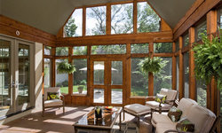 Stained Cedar Timber Screened Porch with Stained Concrete Floor