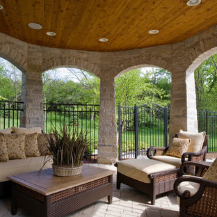 Stone Gazebo with Stained Bead Board Ceiling and Paver Hardscapes