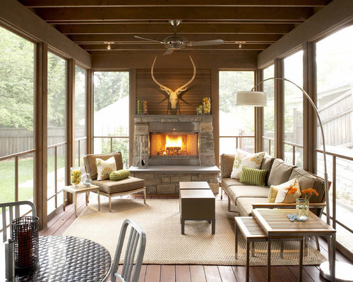 screen porch fireplace. This is an example of a traditional screened in porch design Minneapolis  Screened Porch Fireplace Houzz