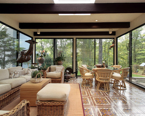 Superior Classic Porch Idea In Los Angeles With Tile And A Roof Extension