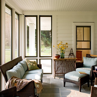 This is an example of a rural screened veranda in Portland Maine.