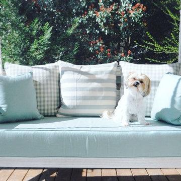 Sunbrella Canvas Spa Porch Swing Cushion & Pillows