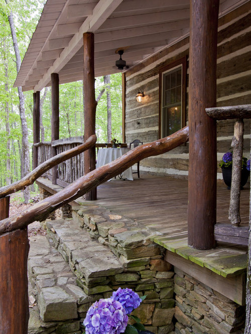 Front steps railing houzz for Rustic front porch