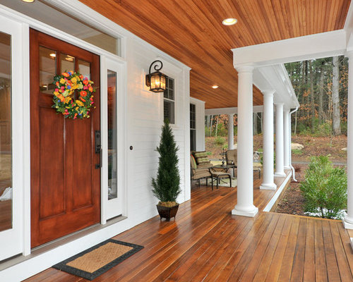 Inspiration for a timeless porch remodel in Boston with decking and a roof  extension - Recessed Lighting On Porch Houzz