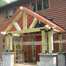 Eclectic Porch Timber frame Porch