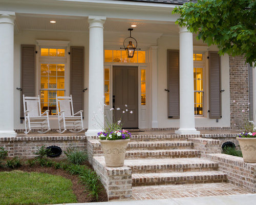 Porch Design Ideas screened in porch design ideas remodels photos houzz Inspiration For A Large Timeless Front Porch Remodel In New Orleans With Brick Pavers And A
