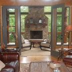 Screened Porch w Fireplace - Transitional - Porch ...