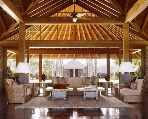 Tropical porch design ideas remodels photos houzz for Hawaiian style architecture