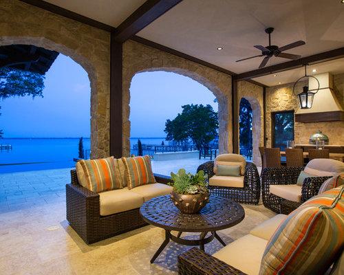 porche avec une cuisine ext rieure avec un auvent photos et id es d co de porches avec une. Black Bedroom Furniture Sets. Home Design Ideas
