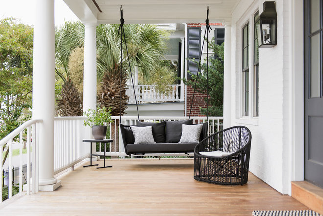 Transitional Porch by Cortney Bishop Design