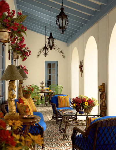 Mediterranean Porch by GIL WALSH INTERIORS